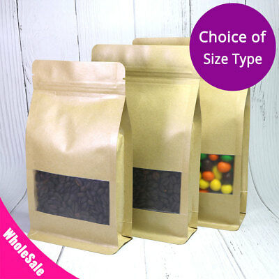 Many Sizes for Kraft Paper Stand up Zip Lock Gusset Side Bag Pouch w/ Window M33