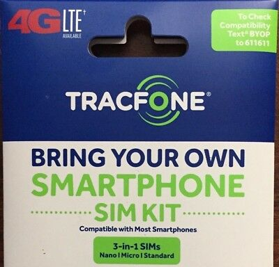 Tracfone 4G Lte Sim Card / All 3 Sizes In 1 / At&t Wireless Network :