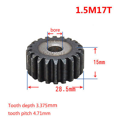 1.5Mod 17T Spur Gear 45# Steel Motor Gear OD 28.5mm Thickness 15mm x1Pcs