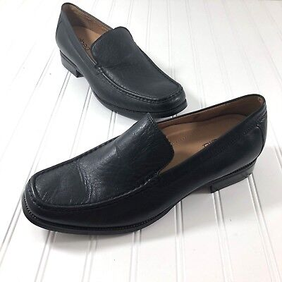Abeo Mens Size 14 Dress Shoes Loafers Slip On Black Leather Bio