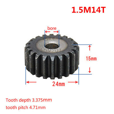 1Pcs 1.5Mod 14T 45# Steel Motor Spur Gear Outer Diameter 24mm Thickness 15mm