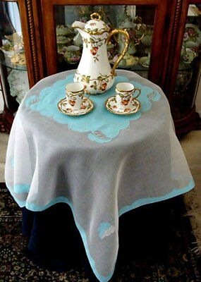 "FAB Vtg MADEIRA Linen Organdy Tablecloth 40"" Topper, Luncheon PRISTINE IMPERIAL"