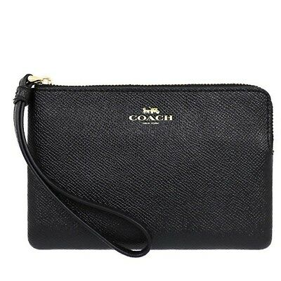 NWT Coach F58032 Zip Wristlet  In Crossgrain Leather Black $75