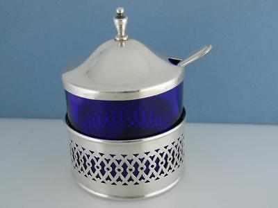 Sterling & Cobalt Glass WEBSTER Mustard / Condiment Jar w/ spoon -pierced design