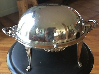Antique walker and Hall Sheffield 51895 Silver Plate Roll-top  Server