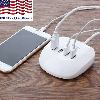 4-Port 3.4A 77W USB HUB Phone Desktop Wall Charger Fast Charging Station Adapter
