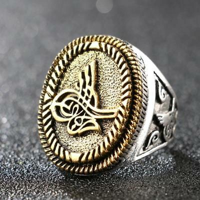 Arabic Calligraphy Art Elegant Ancient Golden Brass Silver Plated Men's Ring New
