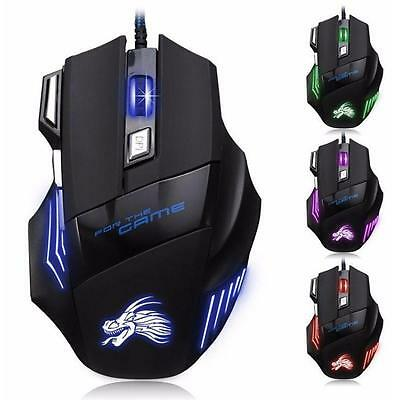 5500 DPI Gaming Mouse 7 Buttons color LED USB Optical Wired For Pro Gamer Hot P3