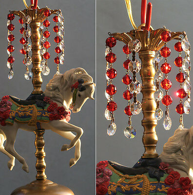 Porcelain Horse Carousel Lamp SWAG Chandelier Vintage Beads Crystal barbola Rose