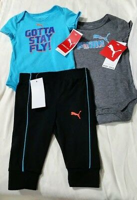 ca5cace0d19 NWT Baby Boy Puma 3 PC Piece Outfit Set Short Sleeve Bodysuit Gray Blue 3
