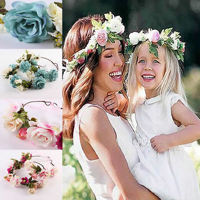 Crown Headband Flower Wedding Floral Hair Accessory Hairband Wreath Mommy & Kids