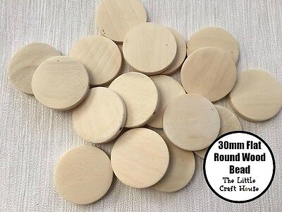 20 x 30mm Round Wood Flat Bead Natural Unfinished Wooden Unpainted Beads Coin
