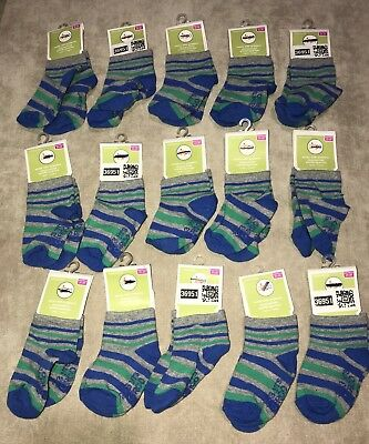 Lot Of 15 Pairs Circo Unisex Infant Baby SOCKS w/ Grippers Blue Sz 2T-3T