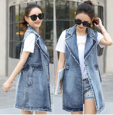 55ab807fae54d Women s Denim Sleeveless Coat Long Jacket Cowboy Vest Waistcoat Girl Jeans  Plus