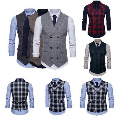 Mens Suit Vest Formal Business Wedding Party Tuxedo Waistcoat Jacket Coat Top
