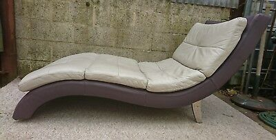 timeless design ae2fb ef20b DFS GREY & Plum Leather Chaise Lounge