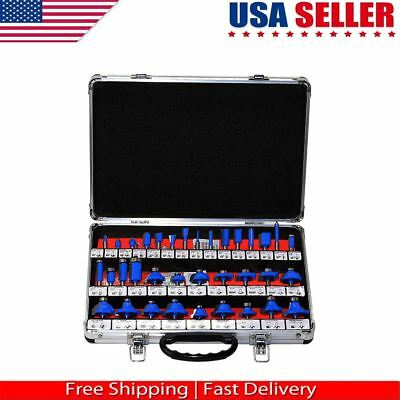 35Pcs Router Bit Set 1/4'' Shank Tungsten Carbide Tip Router Woodworking Tool