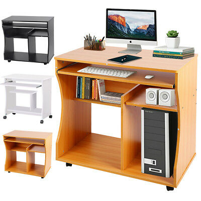 Wood Computer Desk Laptop PC Table Study Workstation Office Furniture Shelves UK