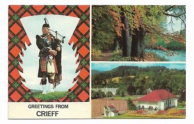 Greetings from CRIEFF Vintage Postcard Dated 1974 Scottish Piper 545F