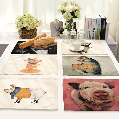 Pig Insulation Cotton Linen Placemat Dining Room Coffee Table Mat Home Kitchen