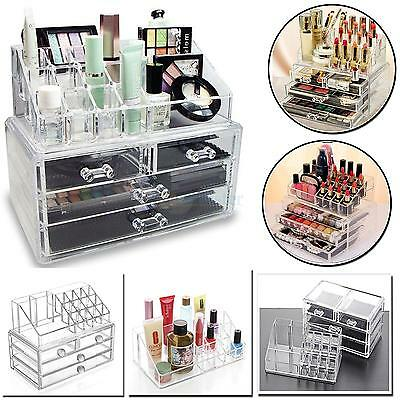 4 Drawer Clear Acrylic Cosmetic Organizer Makeup Case Jewelry Storage Holder Box