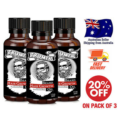 3 X  Beard Growth Oil From TruMen for Thicker, Softer and Healthy Hair