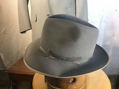 546862532834c Vintage Stetson Gray Stratoliner w  replaced sweatband Fur Felt Fedora Hat  6 7 8