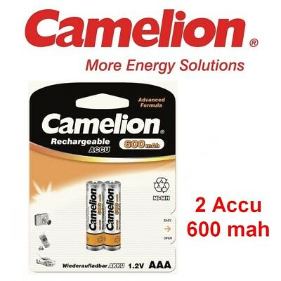 Blister 2 piles NI-MH 600 mah AAA rechargeable CAMELION 1,2 Volts  Neufs