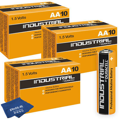 30 Duracell Industrial AA Alkaline Batteries Procell MN1500 1.5V LR6 with Cloth
