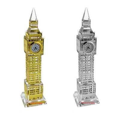 Glass Real Working Big Ben Clock Coloured Lights London Souvenir Ornament Gift