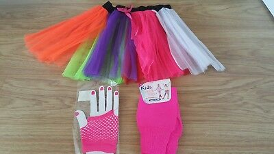 girls fancy dress neon  tutu skirt leg warmers gloves