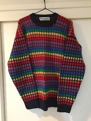 Goodbrand Knitwear Mens Rubiks Cube Vintage Wool Sweater Size M Good Condition