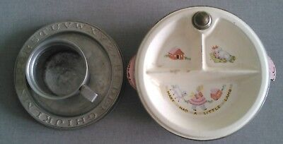 Antique Vintage Decor Ceramic Baby Hot Plate Tin Bowl Cup Mary Had A Little Lamb