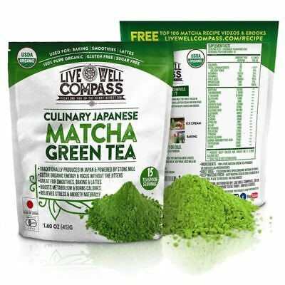 Best Japanese Organic Matcha Green Tea Powder Culinary (15 Servings 1.60Oz) For