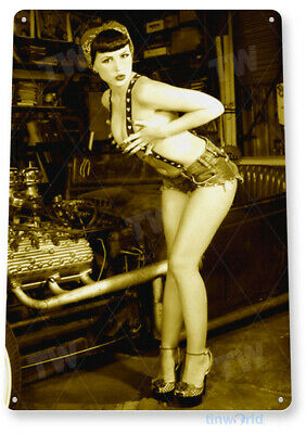 TIN SIGN Suspended Pin-Up Girl Hot Rod Metal Décor C054