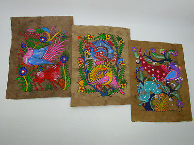 3 AMATE BARK PAINTING SET native ethnic mexican hanging folk art hand painted