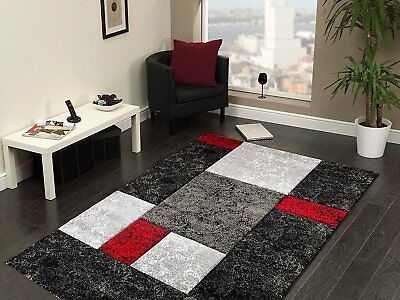 Quality Modern Design Red Black Grey Heavy Rug in 5 sizes Home Carpet and Runner