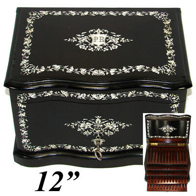 "Rare Antique French 12"" Tantalus Style Cigar Chest or Box, Ebony & Ornate Inlay"