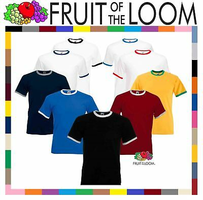 Fruit of the Loom Mens Short Sleeve Plain Ringer T-Shirt Shirt Two Tone Contrast