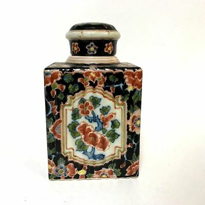 Antique Porcelain Tea Caddy with Japanese Chinese Decoration W/ French Mark