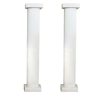 8 Foot White Fluted Column, Set of 2