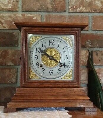 "Antique Ingraham ""Idaho"" Shelf Bracket Clock 8 Day Runs & Strikes Properly"