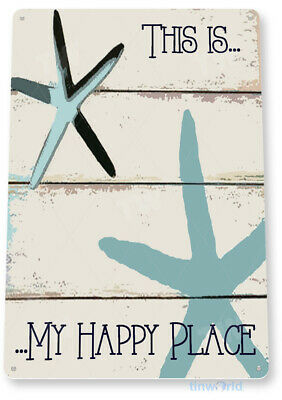 TIN SIGN My Happy Place Beach House Cottage Rustic Metal Décor Blue C029
