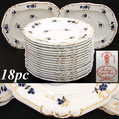 """Antique Royal Crown Derby 10.5"""" Plate Set, 14pc with 2pc Serving Dishes, c. 1899"""