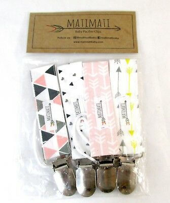 NEW MatiMati Pacifier Teething Ring Clip - 4 pack Girls - Blush Arrow Set