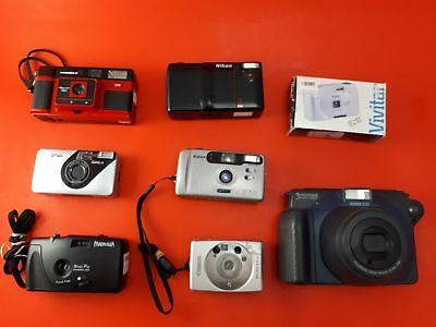 Bundle of 8 Vintage & Old Cameras - Fujifilm Instax 100, Canon ELPH LT & Others