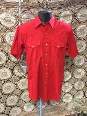 Vintage Corral West Ranchwear Red Western Pearl Snap Shirt Size 15 1/2