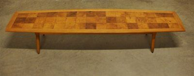 Mid Century Modern Tomlinson Sophisticate Surfboard Coffee Table Marquetry Top