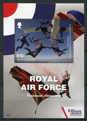 Montserrat 2018 MNH Royal Air Force RAF Falcons 100th 1v S/S Aviation Stamps