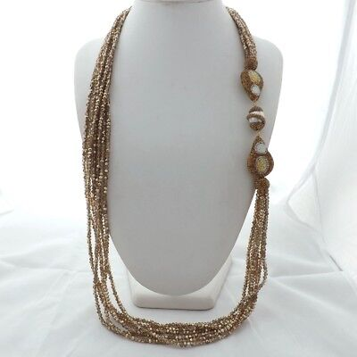 Rhinestone Pave pearl champagne  Crystal 7Strands Necklace